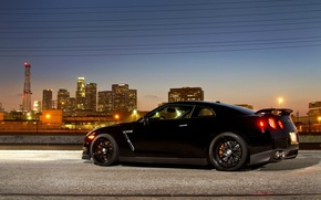 Picture the city, lights, supercar, black, R35, Nissan GTR