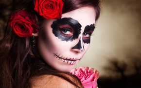 Picture pink, look, makeup, day of the dead