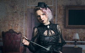 Picture girl, makeup, hat, Charlotte, Steam Punk