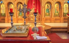 Wallpaper cross, Chicago, USA, Il, religion, the iconostasis, the Church of Saints Vladimir and Olga, the ...