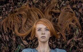 Picture leaves, hair, freckles, Lisa, Elizabeth