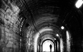 Picture the tunnel, black and white, male, depression, monochrome, Melancholy