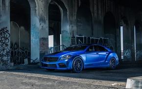 Picture Mercedes Benz, blue, CLS550, side front