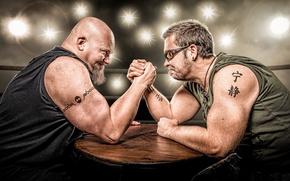 Wallpaper arm wrestling, athletes, arm wrestling, men