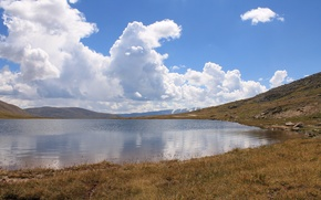 Picture clouds, orange, lake, reflection, travel, blue, Russia, Altay, pass, Teplyy Klyuch
