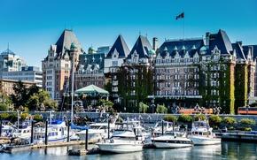 Picture the building, yachts, Victoria, pier, port, Canada, British Columbia, Canada, boats, promenade, British Columbia, Victoria, …
