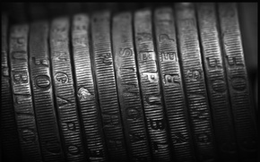 Picture metal, black and white, coins