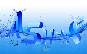 Picture logo, typography, sea, design, text, blue, water, drops