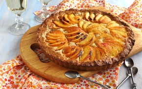 Picture food, pie, peaches, muffin, dessert, cakes, spoon