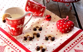 Picture heart, the ball, food, New Year, milk, cookies, Christmas, Christmas, ornament, heart, food, cakes, holidays, …