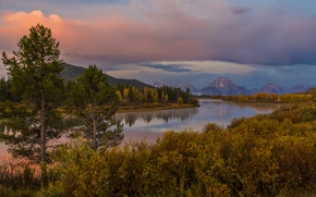 Picture Wyoming, mountains, Grand Teton, trees, the bushes, shore, autumn, sunset, river, forest, USA