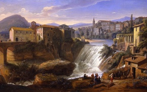 Picture water, the city, picture, painting, painting, Caspar van Wittell, Tivoli, The old waterfall of the …