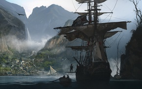 Picture ship, sails, pirates, black, flag, creed, assassins