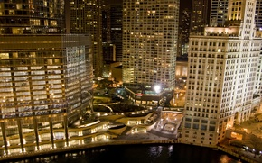 Picture the sky, night, lights, building, skyscrapers, USA, America, Chicago, Chicago, USA, skyscrapers, center, illinois