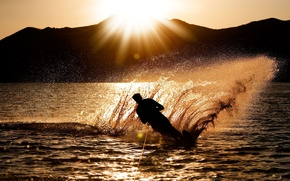 Picture widescreen, background, guy, sport, HD wallpapers, squirt, sea, wave, water, male, silhouette, full screen, the ...