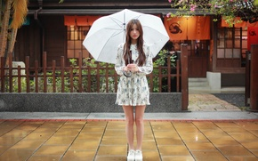 Wallpaper girl, face, umbrella, rain, hair, dress, legs