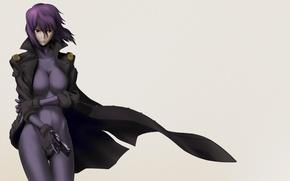 Picture girl, gun, weapons, background, anime, Ghost in the Shell, purple hair, The Fireworks Kusanagi, Motoko …