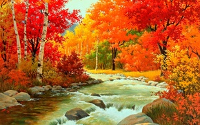 Picture forest, water, river, stones, foliage, Autumn, the bushes