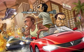 Wallpaper weapons, the bandits, Chase, police, art, Michael, helicopter, Grand Theft Auto V, GTA 5, Rockstar ...