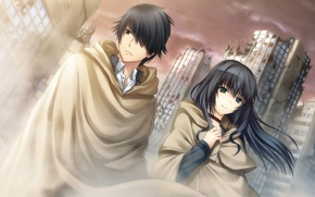 Picture girl, the city, anime, art, guy, Tokyo Babel
