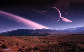 Picture road, planet, ring, art, QAuZ, the landscape