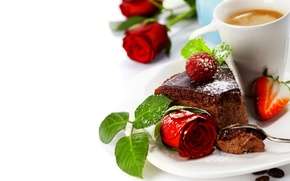 Picture flowers, raspberry, coffee, roses, strawberry, Cup, cake, rose, fruit, cake, flower, dessert, cup, fruit, strawberry, ...