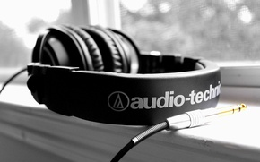 Picture background, black and white, headphones, plug, picture, hi-tech, Wallpaper. image