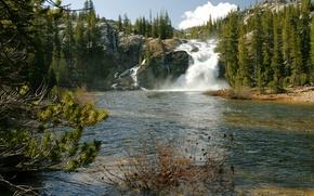 Picture trees, stones, rocks, waterfall, USA, river, Yosemite, California