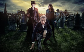 Picture the sky, grass, look, girl, woman, robots, actress, cemetery, actor, male, cyborgs, Doctor Who, tombstone, …