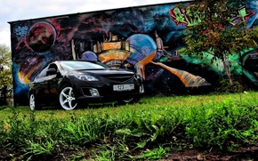Wallpaper Mazda 6, Grass, Tree, Graffiti