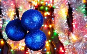 Picture the rain, color, decoration, joy, lights, glare, holiday, balls, Shine, tinsel, lanterns, Christmas decorations
