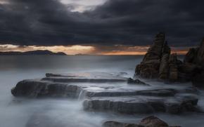 Picture sea, rocks, dawn, coast