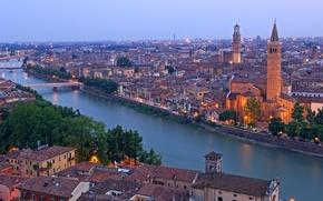 Picture river, Italy, Church, bridges, Italy, Santa Anastasia church, Torre dei Lamberti, Verona, Verona, Adige river