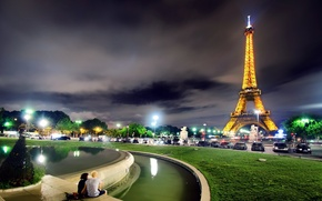 Picture night, the city, Paris, tower