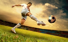 Picture the sky, football, gate, player, stadium, kick the ball