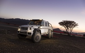 Picture Sunset, Mountains, Mercedes Benz, 6x6, G63 AMG