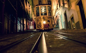 Wallpaper night, rails, home, tram