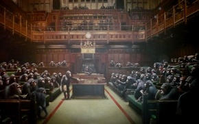 Picture monkey, Banksy, Parliament, Banksy, officials