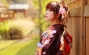 Picture style, look, girl, clothing, face, kimono, Asian