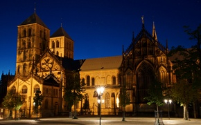 Picture night, Germany, lights, temple, St. Paul's Cathedral, Munster, St.-Paulus-Dom, square Domplatz, Münster
