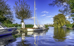 Picture summer, water, trees, Park, boat, channel