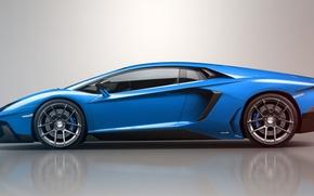 Picture blue, reflection, Lamborghini, Lamborghini, blue, LP700-4, Aventador, Lamborghini, aventador, LB834, profile, Jackdarton