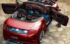 Picture red, tuning, convertible, mitsubishi, engine, monitors, system, backlight., acoustic, dvd, the aerografiej, maza