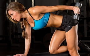 Wallpaper female, workout, fitness, gym, dumbell, triceps