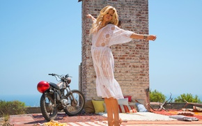 Picture mood, playboy, dress, blonde, girl, bike, Sophie Monk