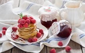 Picture berries, raspberry, food, spoon, pancakes, jam, jam, pancakes, pancakes