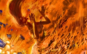 Picture girl, fragments, fire, art, romance of the Apocalypse, romantically apocalyptic, alexiuss