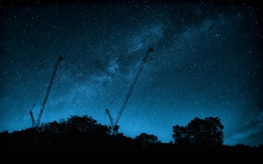 Picture space, stars, trees, silhouette, The Milky Way, cranes