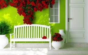 Picture flowers, the door, window, shop, vases, red roses