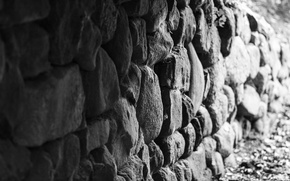 Picture wall, stones, white and black